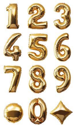 Numeri di palloncini isolati su sfondo bianco Archivio Fotografico