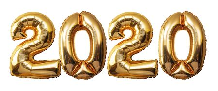 Gold numbers Balloons on a white background, 2020 Happy new year Stock Photo