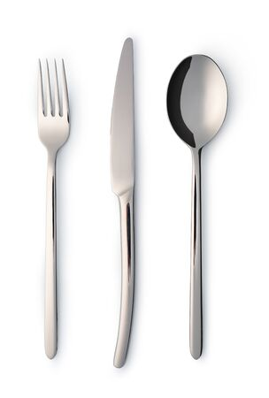 Cutlery set with Fork, Knife and Spoon isolated on white
