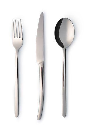 Ensemble de couverts avec fourchette, couteau et cuillère isolated on white