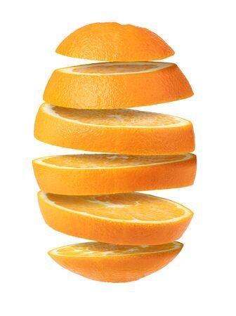 Falling sliced orange fruit isolated on white background