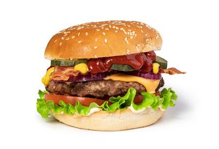 tasty cheeseburger isolated on white background Banco de Imagens