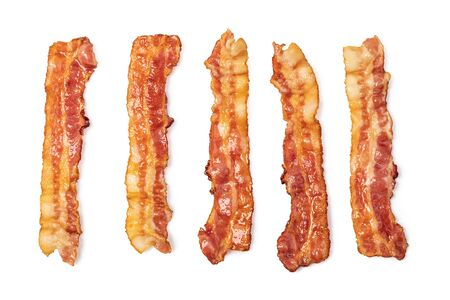 slices of crispy hot fried bacon isolated on white background Standard-Bild