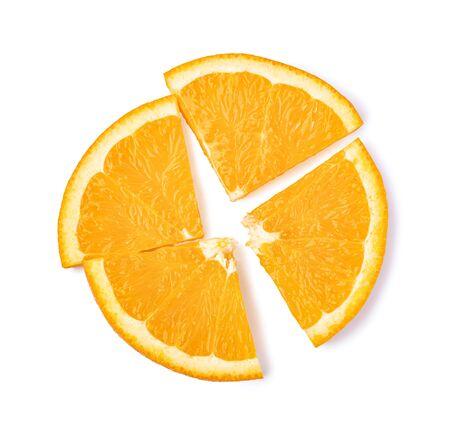 sliced orange fruit isolated on white background