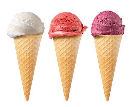 Ensemble de cornet de gaufres de crème glacée isolé sur fond blanc