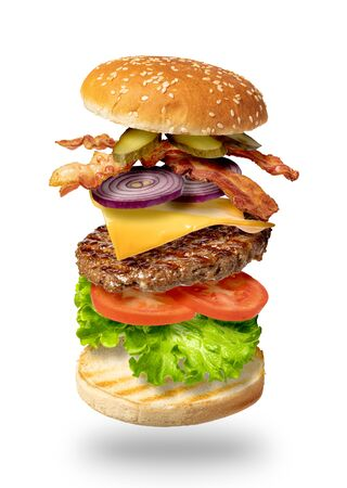 Flying burger isolated on a white background Imagens