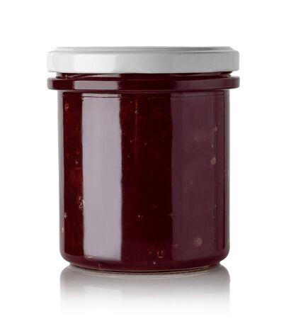 Jars of currant jam isolated on white background Stock Photo