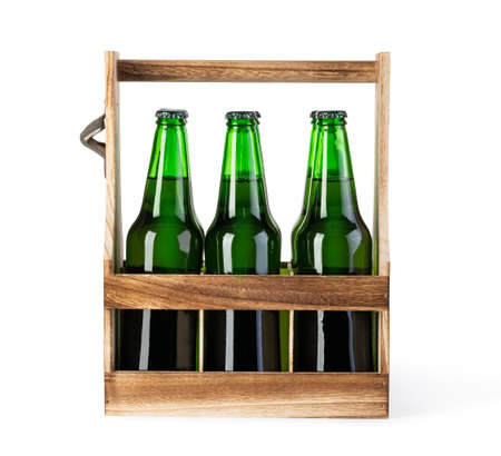 Beer wooden box isolated on a white background Stock Photo