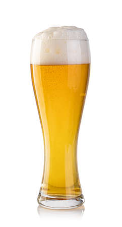 cold beer in glass on white background