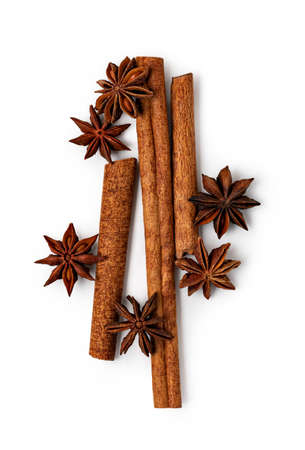 star anise and cinnamon isolated on white background Reklamní fotografie