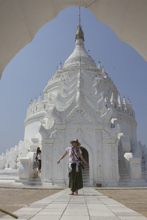 Hsinbyume Paya, the White Pagoda in Myanmar, and a tourist