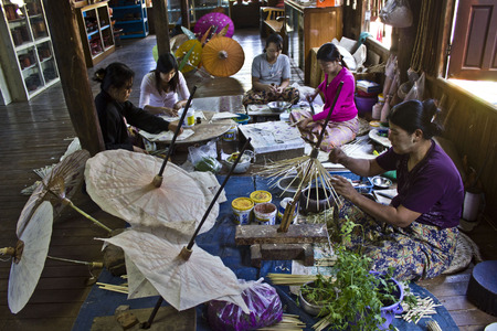 craft materials: Doing Typical Myanmar Umbrellas  Umbrellas are pure handmade and organic  Every process are done by manual hand and all material used to make umbrella are come from nature   Editorial