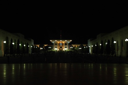 muttrah: Qasr Al Alam Royal Palace by Night, Muscat .Sultan Qaboos Palace, in the city of Muscat, Oman, with its special architecture impresses upon arrival. Royal Court is the most splendid and heavily guarded zone in the Sultanate of Oman. Editorial
