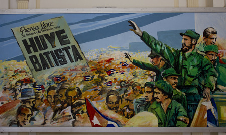 fled: Havana, Cuba, August 9, 2012: A painting inside the Museo de la Revolución. This depicts Fidel coming into La Habana in January 1959 after Batista fled Editorial