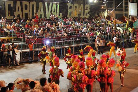 allegoric: Havana, Cuba, August 11, 2012: Havana Carnival, a pause for Joy. Every year, thousands of Cubans look forward to the traditional carnival festivities, a colorful and explosive show of allegoric floats and dancers. Editorial