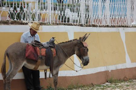 big ass: Trinidad, Cuba, August 19, 2012. An old man smoking a typical cuban cigar.