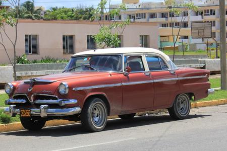 old fashioned car: Varadero, Cuba, August 28, 2012: Old fashioned car