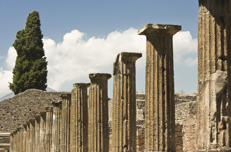 View of the famous ancient Roman town ruins, in South of Italy photo