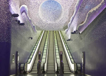 Naples, Italy: Naples subway, Toledo Station. The Art Stations, distributed along the lines 1 and 6 of the Metro network, include more than 180 pieces of art created by 90 international authors and by some young local architects, allowing them to combine
