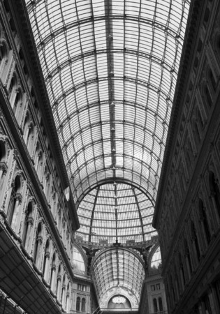 Naples, Italy, August 10, 2014: Umberto I gallery atrchitectural detail, view of the  great glass-roofed arcade, perhaps the largest in the world.