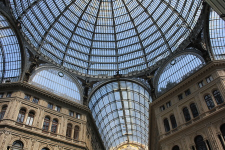 Naples, Italy: Umberto I gallery architectural detail, view of the  great glass-roofed arcade, perhaps the largest in the world.
