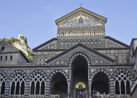 Amalfi, Italy, August 11, 2014: Amalfi Cathedral (it.Duomo di Amalfi), a Roman Catholic structure, dedicated to the Apostle Saint Andrew. Predominantly of Arab-Norman Romanesque architectural style