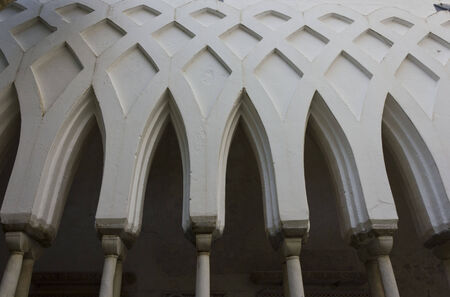 Amalfi, Italy, August 11, 2014: Amalfi Cathedral, Cloister of Paradise, built by Filippo Augustariccio between 1266 and 1268. The church is dedicated to the Apostle Saint Andrew.