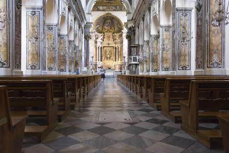 Amalfi, Italy, August 11, 2014: Amalfi Cathedral, liturgical central area. The church is dedicated to the Apostle Saint Andrew. A Baroqye Byzantine architectural style.