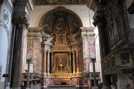 murals: Amalfi, Italy, August 11, 2014: Amalfi Cathedral, liturgical central area. The church is dedicated to the Apostle Saint Andrew. A Baroqye Byzantine architectural style.