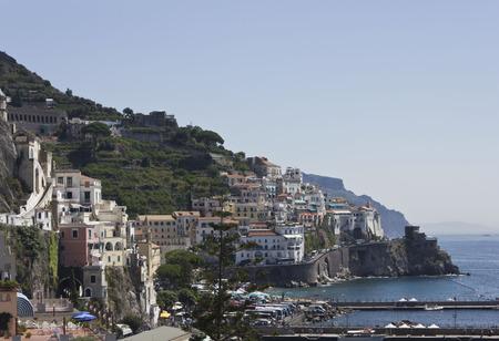 Amalfi, Italy, August 11, 2014: Amalfi Coast. The Amalfi Coast (Italian: Costiera Amalfitana) is a stretch of coastline on the southern coast of the Sorrentine Peninsula in the Province of Salerno in Southern Italy