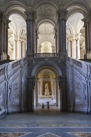 Caserta, Italy, August 14, 2014: Caserta Royal Palace, the honour Grand Staircase, projected by Italian Architect Luigi Vanvitelli in late 1700.