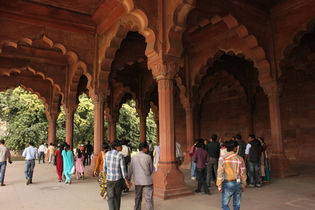 accurately: Agra, India: People at Agra Fort, an UNESCO World Heritage site located in Agra, Uttar Pradesh, India.The fort can be more accurately described as a walled city. Editorial