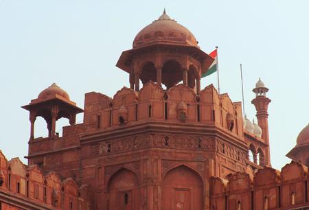 enclosing: Old Delhi, India: Red Fort, Riserva per le sue massicce mura di cinta di arenaria rossa, fu la residenza dell'imperatore Mughal dell'India. Dome dettaglio Archivio Fotografico