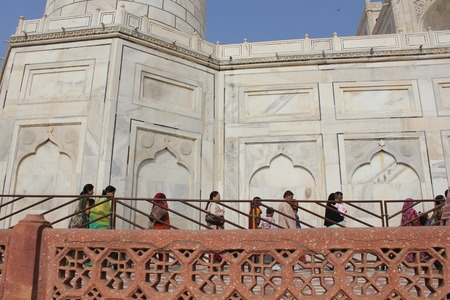 admired: Agra, India: The Taj Mahal, a white marble mausoleum located in Agra, Uttar Pradesh, India. The Taj Mahal is widely recognized as the jewel of Muslim art in India and one of the universally admired masterpieces of the world