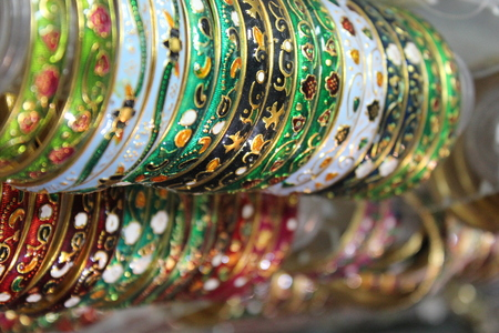 bazar: Indian colorful bracelets. Typical Indian handcrafted Bracelets for women Stock Photo