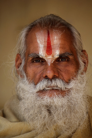 long beard: Jaipur, India: Indian man with long beard and the typical indian tilak symbol on the forehead, lookinag at the camera.