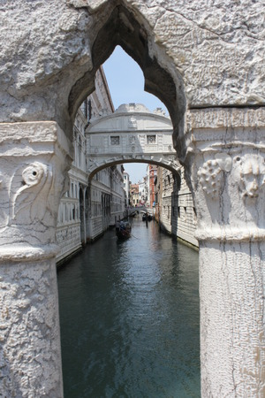 Venice: The Bridge of Sighs, architectural detail. The enclosed bridge is made of white limestone and has windows with stone bars. It passes over the Rio di Palazzo and connects the New Prison to the interrogation rooms in the Doges Palace Editorial