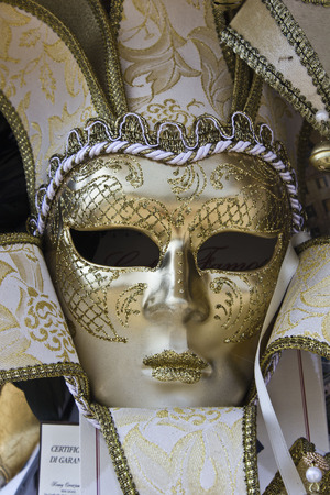 carnival masks: Typical Venetian Carnival Masks in a Market in the Veneto Region of Italy Stock Photo