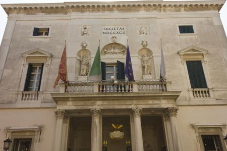 theatre symbol: Venice, Italy, June 4 2014: External of La Fenice theatre, historical theatre symbol of the city