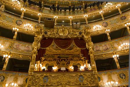 Venice, Italy, June 4 2014: Interior of La Fenice theatre, historical theatre symbol of the city