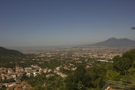 Landscape view of the Vesuvio, with Naples cityscape below.  photo