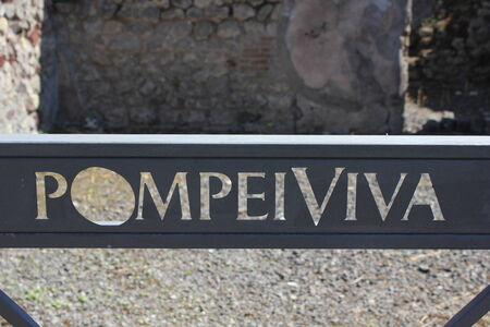 restauration: Pompei, Italy: Detail of Pompei Viva insigna, part of a restoration campaign started in 2010 , which means Living Pompeii