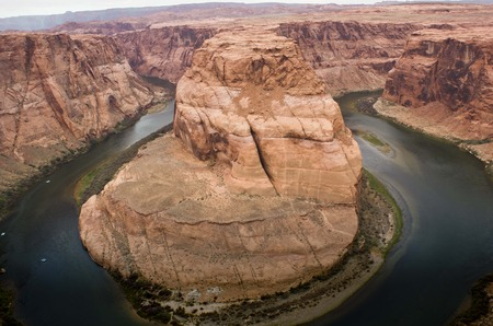 Horse shoe Bend, Colorado River, Page, Arizona (Usa), a fantastic shapes in the ancient sandstone. photo