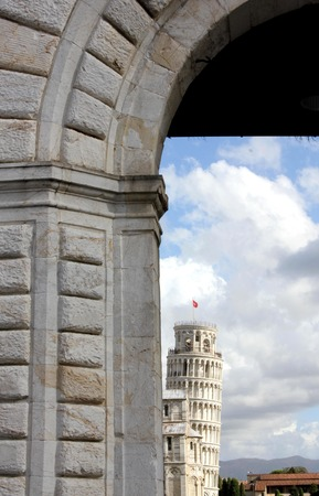 campo dei miracoli: Pisa, Italy,  Pisa Leaning tower in the background of Campo dei miracoli doorway Stock Photo