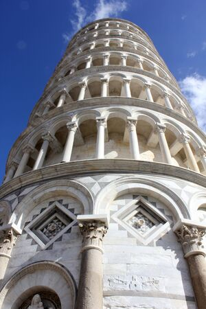 campo dei miracoli: Pisa, Italy: Pisa Leaning tower, architectural detail, looking up