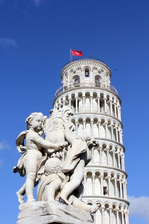 campo dei miracoli: Pisa, Italy,: Pisa Leaning tower, architectural detail with angels statue