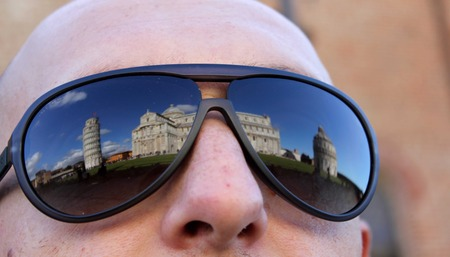 campo dei miracoli: Pisa, Italy: Pisa Leaning tower reflected on a person glasses