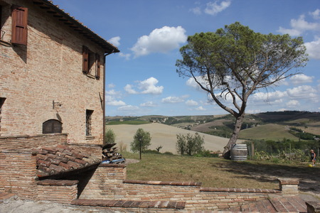Montalcino, Italy: Ancient farmhouse in the beautiful tuscany landscape photo