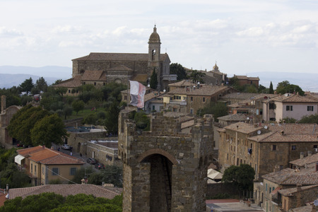 montalcino: Montalcino, Italy: View of Montalcino city from its Castle, an ancient building symbol of the city Editorial