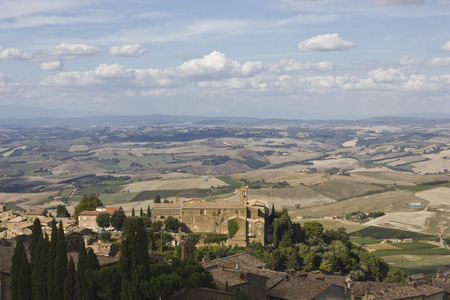 Montalcino, Italy:Amazing Tuscany countryside from the Montalcino Castle, ancient fortress of the city